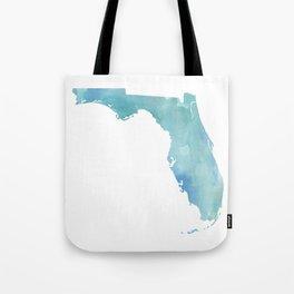 Watercolor State Map - Florida FL blue green Tote Bag