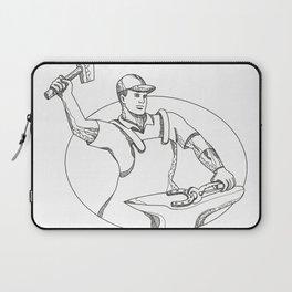 Farrier Wielding Hammer Oval Doodle Art Laptop Sleeve