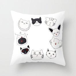 cute cat doodles circle #3 Throw Pillow