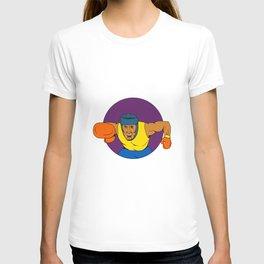 Amateur Boxer Punching Circle Drawing T-shirt