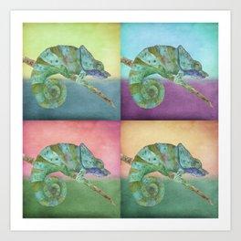 4 Chameleons Art Print