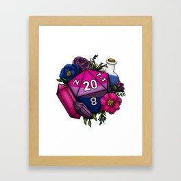 Pride Bisexual D20 Tabletop RPG Gaming Dice Framed Art Print