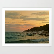 Boat on sunset Art Print