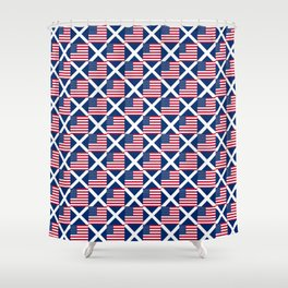 Mix of flag: usa and scotland Shower Curtain