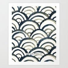 Scallop-Indigo Art Print