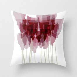 Dark Red Goblet Flower Bunch Throw Pillow