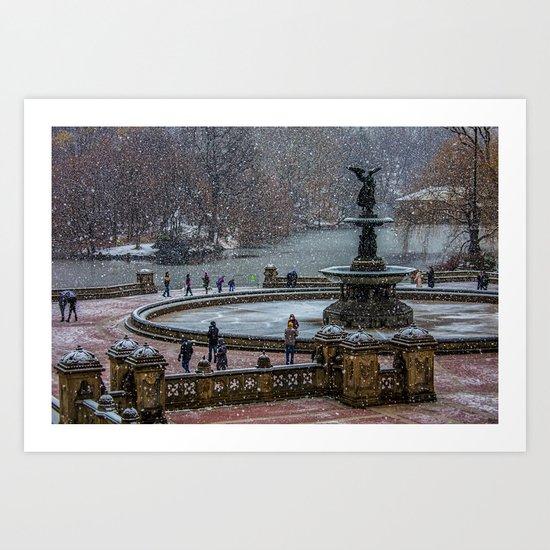 Flurries In The Park Art Print