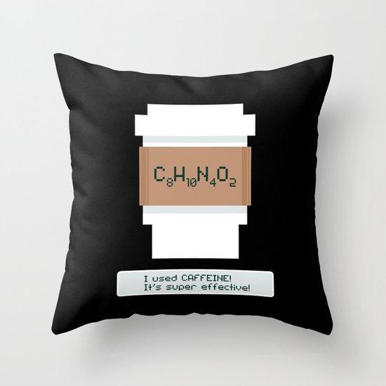 Caffeine is Super Effective Throw Pillow