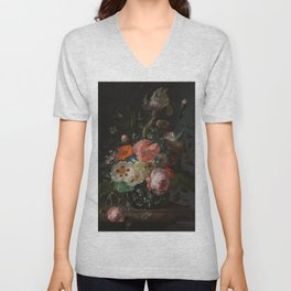 Rachel Ruysch - Still life with flowers on a marble tabletop (1716) Unisex V-Neck