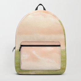 Pink sky landscape Backpack