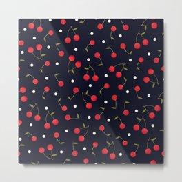 469-Cherries with polka dots cute pattern navy background Metal Print