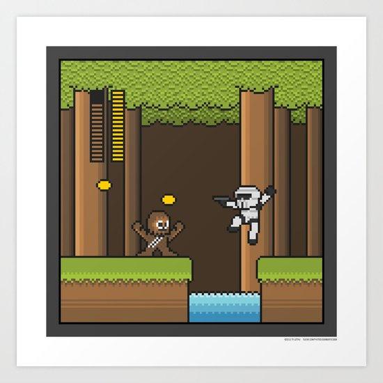 Mega Boss Battles - Chewie vs. Scout Trooper Art Print