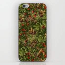 Traditional Holly Christmas Pattern iPhone Skin