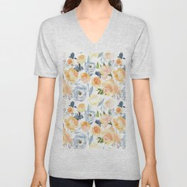 Orange blush pink teal blue watercolor flowers Unisex V-Neck