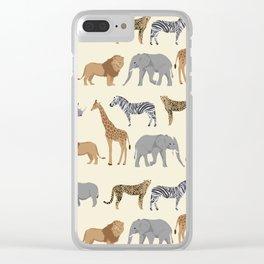 Safari animal minimal modern pattern basic home dorm decor nursery safari patterns Clear iPhone Case