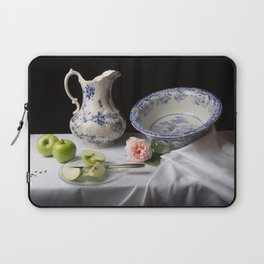 Delft blue china and apples still life Laptop Sleeve