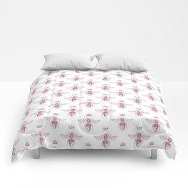 Pink Queen Bee Pattern Comforters