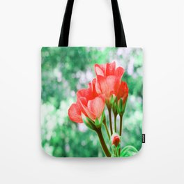 Red FloWERS Bokeh Sparkle Tote Bag
