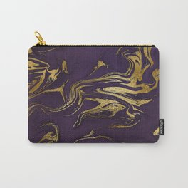 Dark Purple Gold Marble Carry-All Pouch