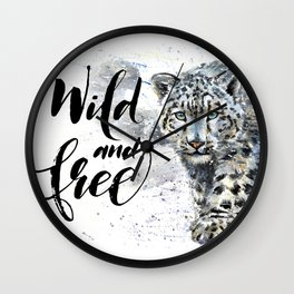 Snow leopard Wild and Free Wall Clock