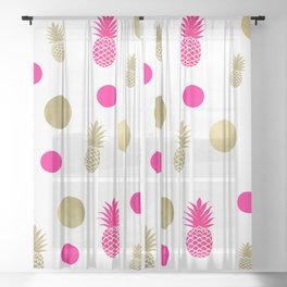 Hot Pink & Gold Pineapples Sheer Curtain