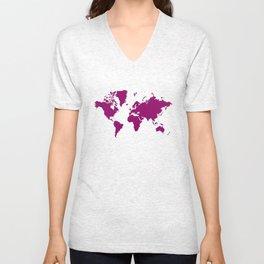 World with no Borders - sangria Unisex V-Neck