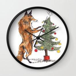 Christmas Fox Wall Clock