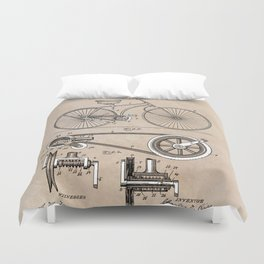 patent Bicycle 1890 Rice Duvet Cover