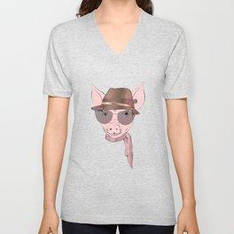 Cute pink baby pig funny design Unisex V-Neck