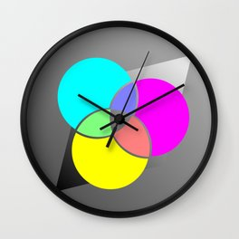 CMY Color Palette Crossover Wall Clock