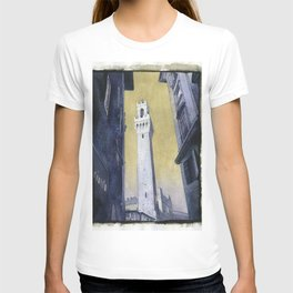 Piazza del Campo in medieval city of Siena, Italy.  Watercolor painting of Tower of Mangia T-shirt