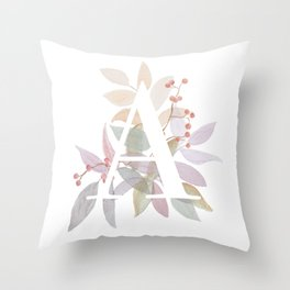 Fall Floral Monogram A - Rustic Alphabet Typography Throw Pillow