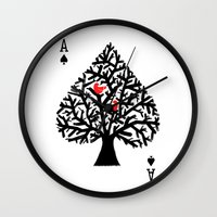 ace Wall Clocks featuring Ace of spade by Picomodi
