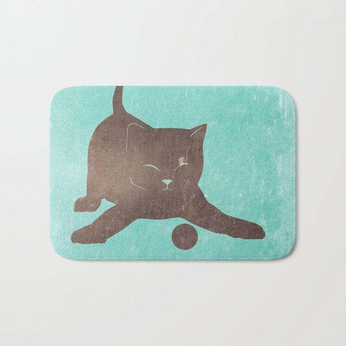 Happy kitten plays with a ball - minimalist illustration Bath Mat