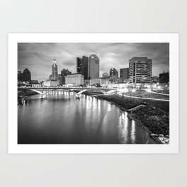 Columbus Ohio Skyline BW Contrasts Art Print