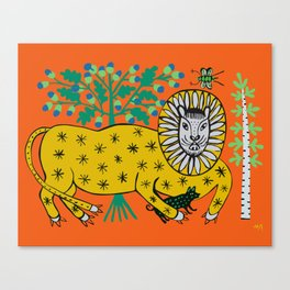 Lion is playing with dog Canvas Print