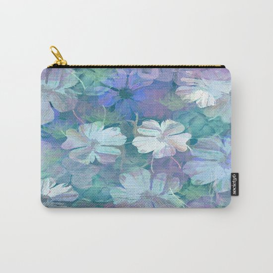 Painterly Midnight Floral Abstract Carry-All Pouch