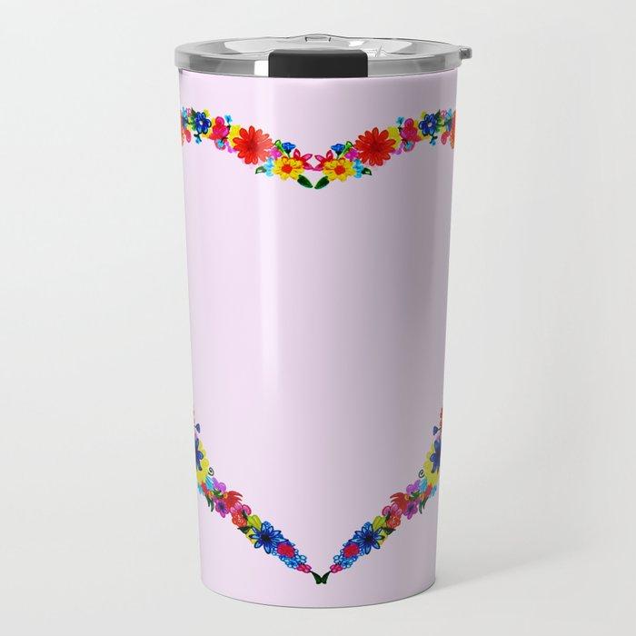 heart made of flowers on a pink background . Artwork Travel Mug