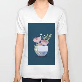 Flowers in Marbleised Vase 1# Unisex V-Neck