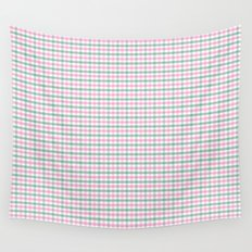 Gingham pink and forest green Wall Tapestry
