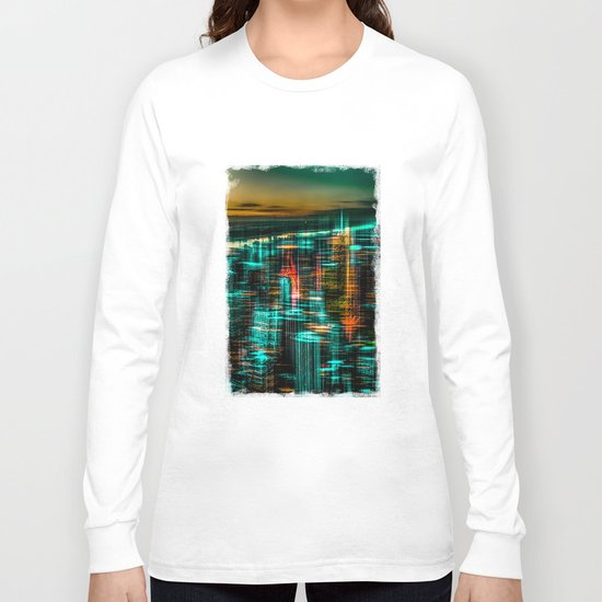 New York - the night awakes (green) Long Sleeve T-shirt