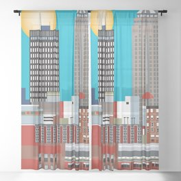 Des Moines, Iowa - Skyline Illustration by Loose Petals Sheer Curtain