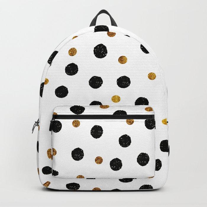 Black & Gold Glitter Confetti on white background- Elegant pattern Backpack
