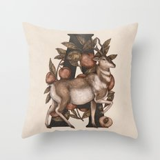 Letter A: Antelope & Apricots Throw Pillow