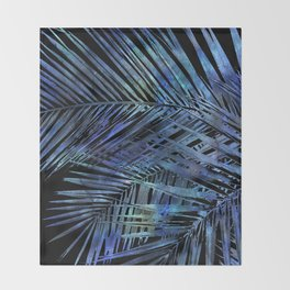 Midnight Blue Palm Leaves Mixed Media Art Throw Blanket