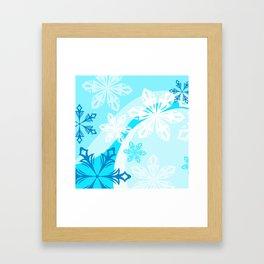 Blue Flower Art Winter Holiday Framed Art Print