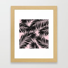 Palm Tree Fronds Black on Pink Hawaii Tropical Graphic Design Framed Art Print