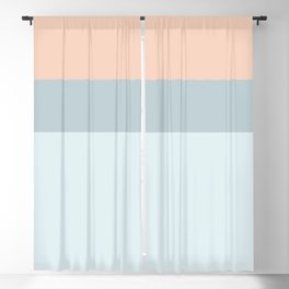 Modern  pastel coral blue color block stripes Blackout Curtain