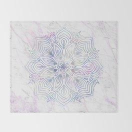 Marble Mandala - Purple Blue Rose Gold Throw Blanket