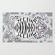 TIBETAN TIGER WHITE (white) Rug